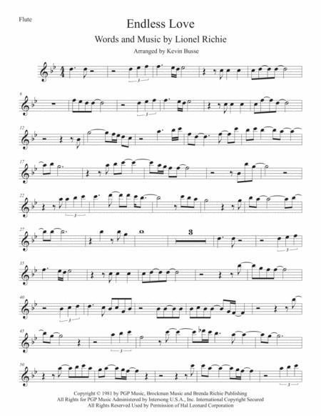 Endless Love (Original key) Flute