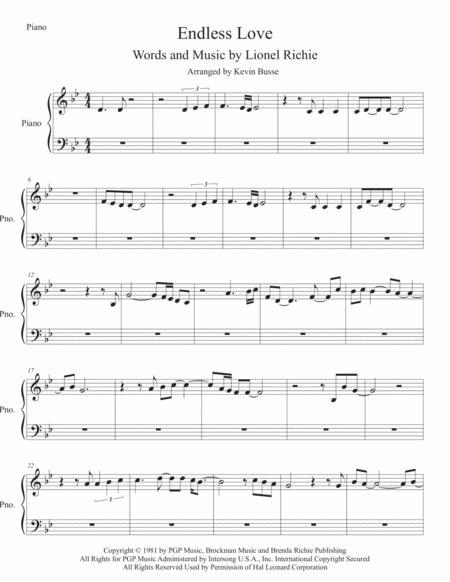 Endless Love (Original key) Piano