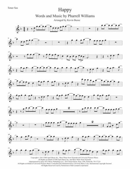 Happy (Original key) Tenor Sax