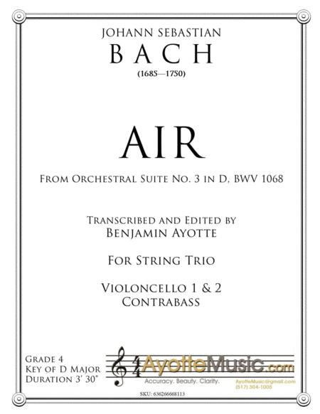 Air from Orchestral Suite No. 3, BWV 1068 transcribed for String Trio