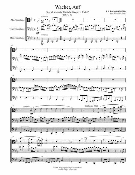 sleepers awake (wachet auf) for trombone trio by johann sebastian bach  (1685-1750) - digital sheet music for score,set of parts - download & print  s0.318803 | sheet music plus  sheet music plus