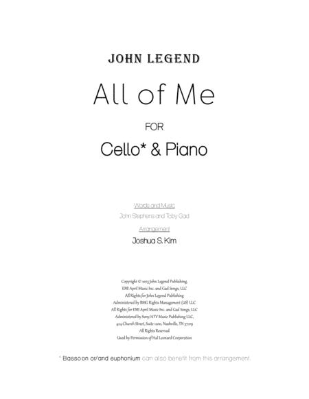 All Of Me for Cello & Piano (with full lyrics)