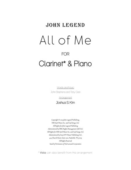 All Of Me for Clarinet & Piano (with full lyrics)