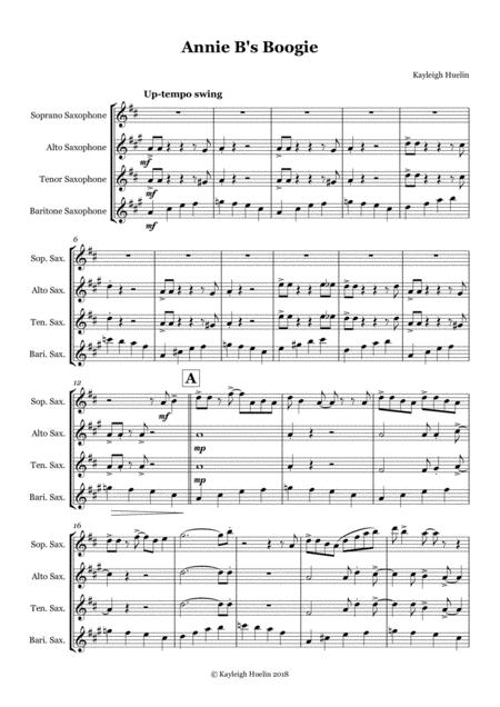 Annie B's Boogie - Saxophone quartet (SATB)