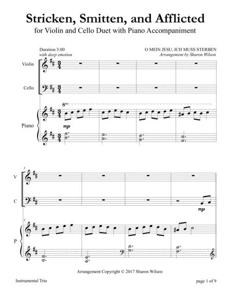 Stricken, Smitten, and Afflicted (for Violin and Cello Duet with Piano accompaniment)