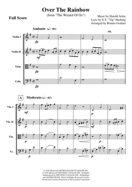 Over The Rainbow (for String Quartet) - Score and Parts