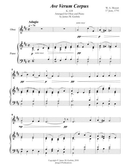 Mozart: Ave Verum Corpus for Oboe & Piano