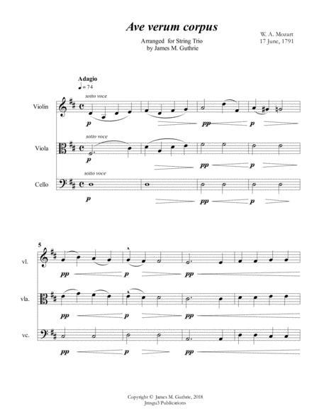 Mozart: Ave Verum Corpus for String Trio