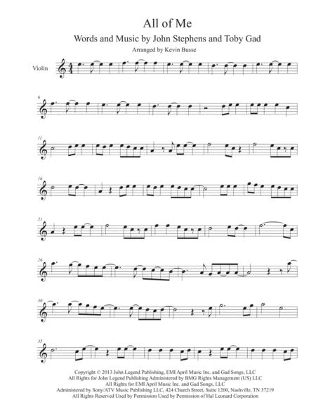 Download All Of Me - (Easy Key Of C) - Violin Sheet Music By