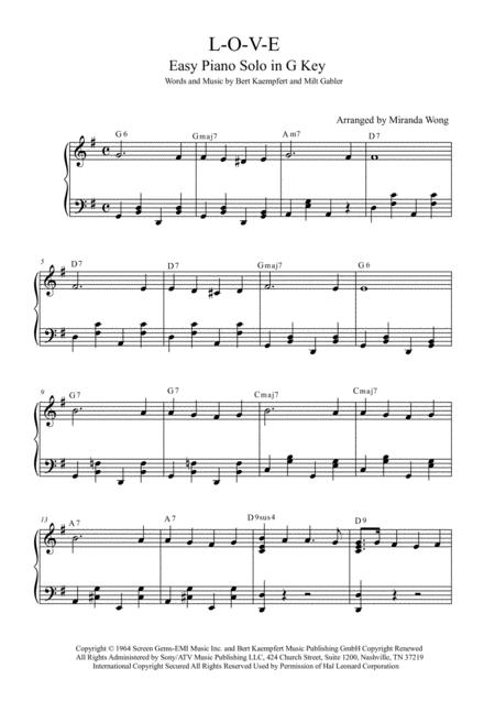Download L O V E Easy Wedding Piano Solo In G Key With Chords