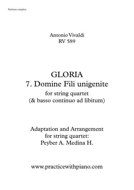Vivaldi - RV 589, GLORIA - 7. Domine Fili Unigenite, for string quartet