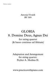 Vivaldi - RV 589, GLORIA - 8. Domine Deus, Agnus Dei, for string quartet