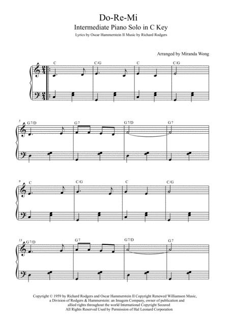 Download Do Re Mi Intermediate Piano Solo In C Key With Chords