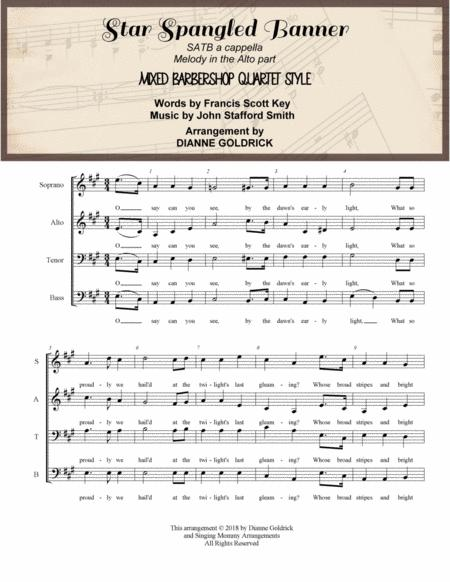 The Star Spangled Banner, SATB a cappella, Mixed Barbershop Quartet Style