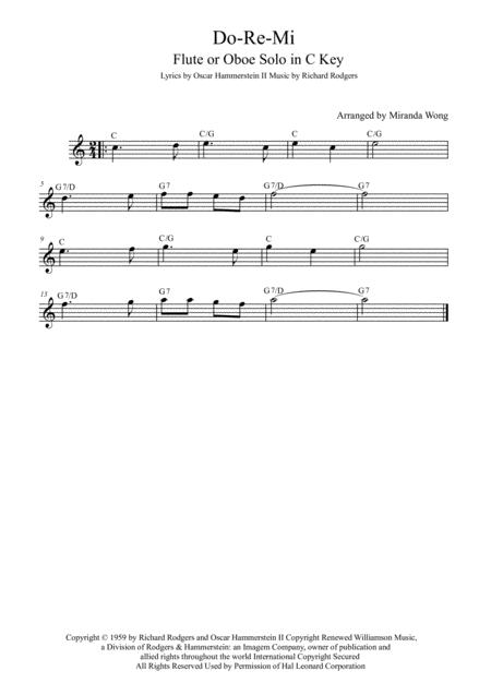 Do-Re-Mi - Flute or Oboe and Piano Accompaniment in C Key