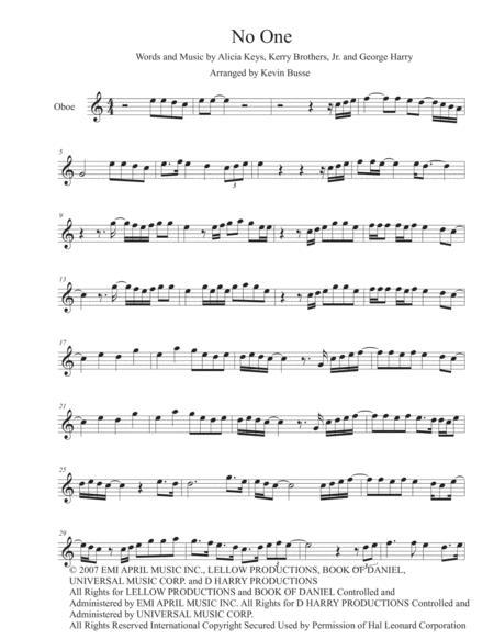 No One - (Easy key of C) - Oboe