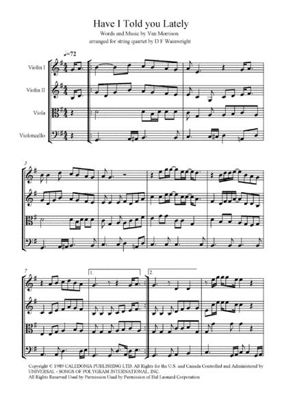 Have I Told You Lately arranged for string quartet, score and parts with mp3