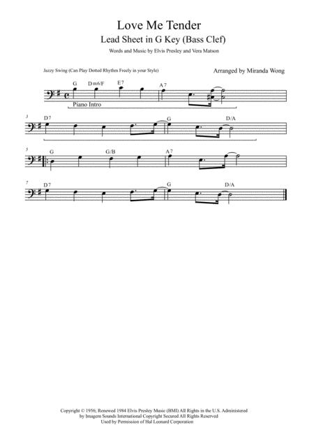Download Love Me Tender - Cello Or Double Bass Solo In G Key (With ...