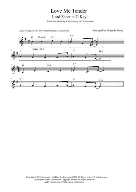 Download Love Me Tender Lead Sheet In 3 Keys With Chords Sheet