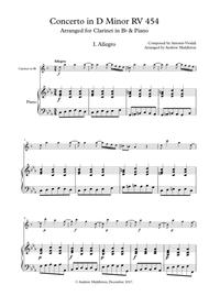Concerto in D Minor RV 454 for Clarinet and Piano