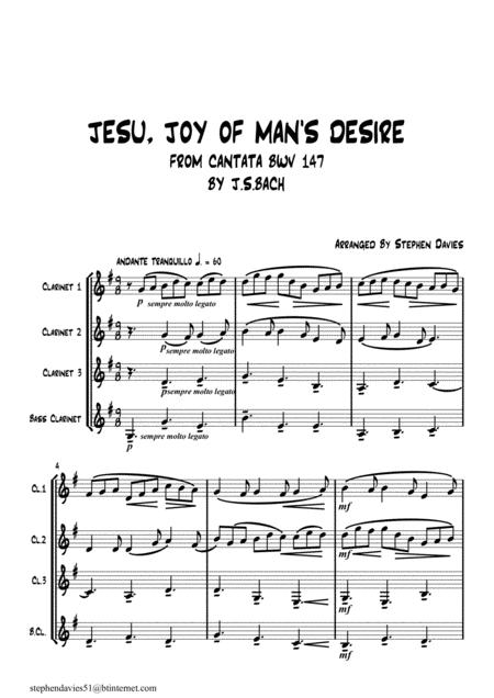 Jesu, Joy Of Man's Desire' from Cantata BWV147 by J.S.Bach for Clarinet Quartet.