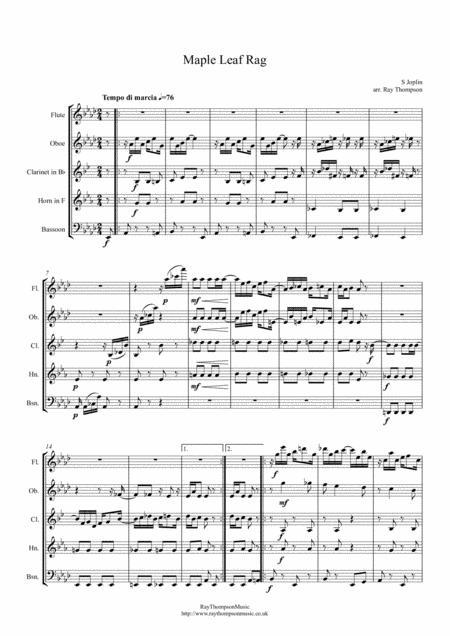 Scott Joplin: Maple Leaf Rag - wind quintet