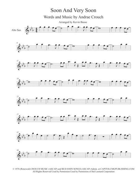 Soon And Very Soon (Original Key) - Alto Sax