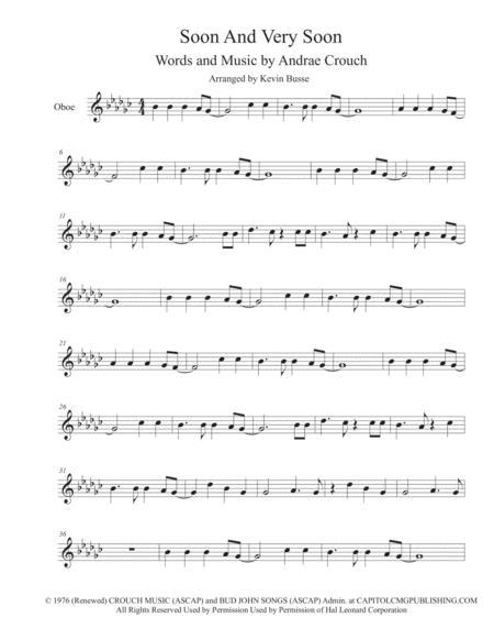 Soon And Very Soon (Original Key) - Oboe