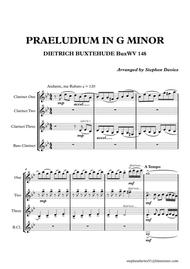Praeludium & Fugue in G Minor by Dietrich Buxtehude (Buxwv148) for Clarinet Quartet.