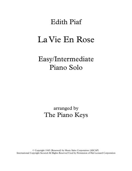 Download La Vie En Rose Easyintermediate Piano Solo Sheet Music By