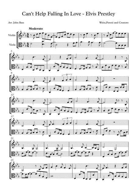 Can't Help Falling In Love-arranged for Violin and Viola