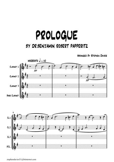 'Prologue' by Dr.Benjamin Robert Papperitz (1826-1903) for Clarinet Quartet.