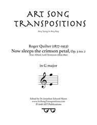 Now sleeps the crimson petal, Op. 3 no. 2 (G major)