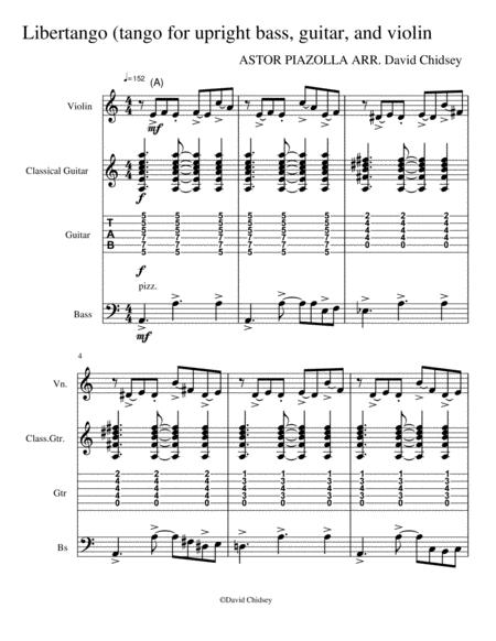 Libertango (Arranged for violin, guitar (with tab) and bass)
