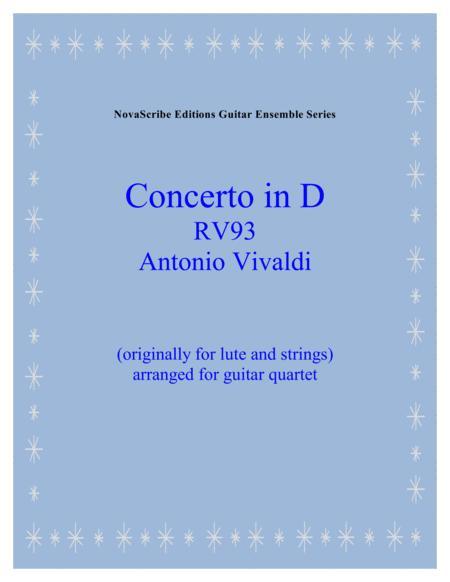 Lute Concerto in D R.V. 93   arr. for guitar quartet