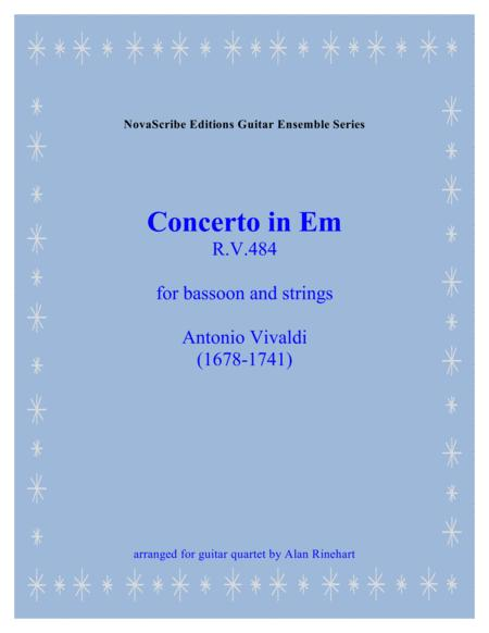 Concerto in Em (for bassoon and strings) R. V. 484   arranged for guitar quartet