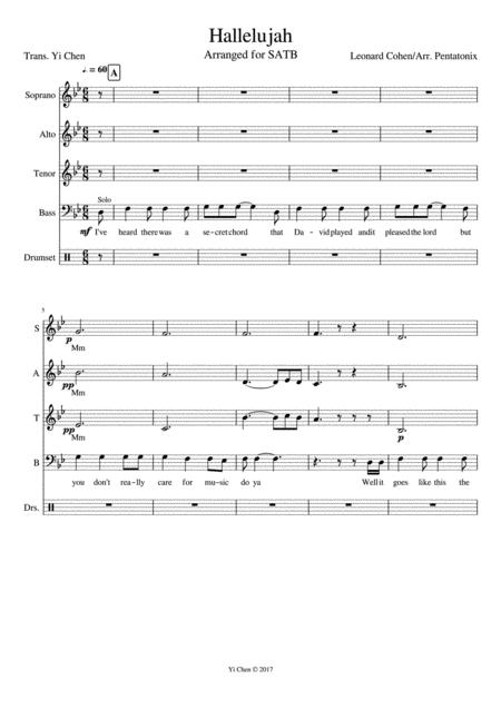 Download Hallelujah (Acapella) Sheet Music By Leonard Cohen