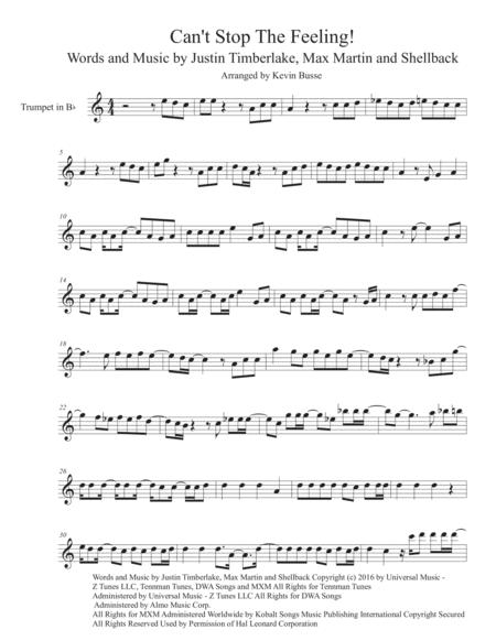 Can't Stop The Feeling (Easy key of C) - Trumpet