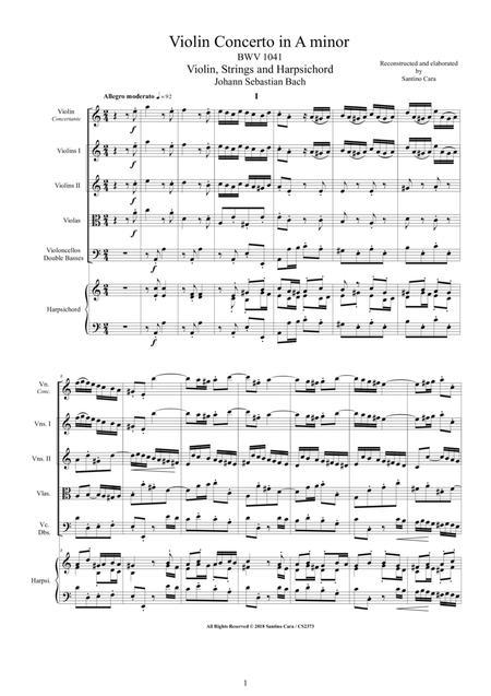 Bach - Violin Concerto in A minor BWV 1041 for Violin, Strings and Harpsichord
