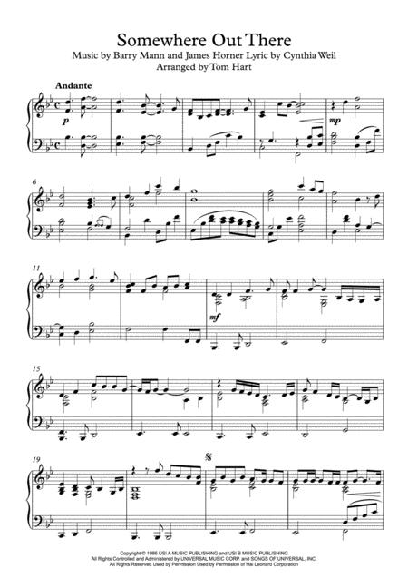Somewhere Out There - Piano Solo
