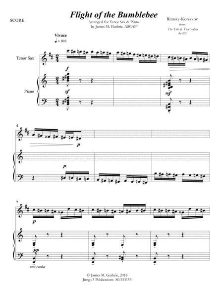 Korsakov: Flight of the Bumblebee for Tenor Sax & Piano