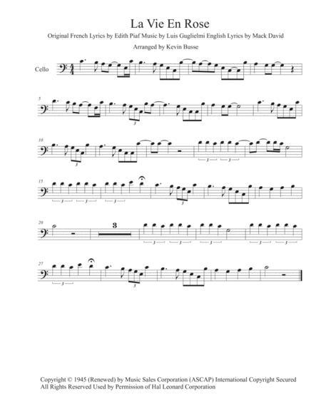 La Vie En Rose (Easy key of C) - Cello