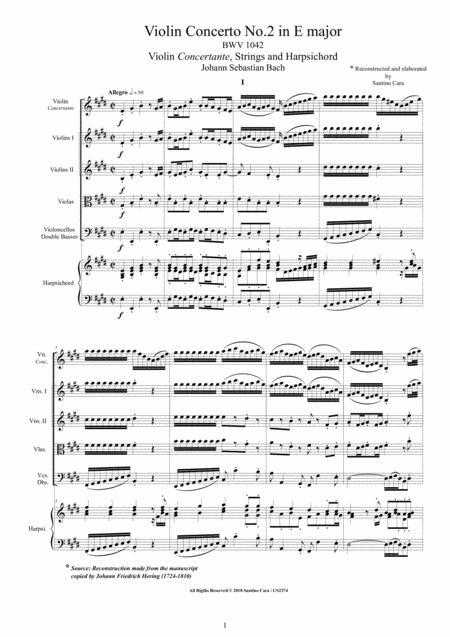 Bach - Violin Concerto No.2 in E major BWV 1042 for Violin, Strings and Harpsichord
