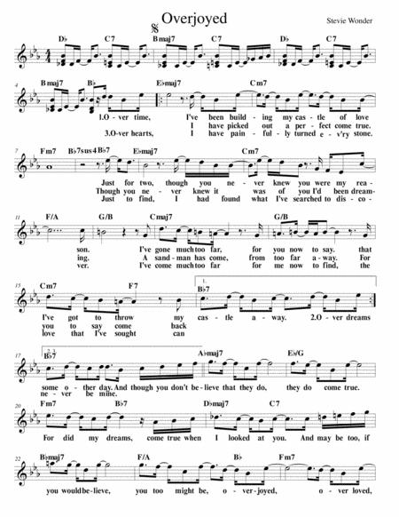 Download Overjoyed Lead Sheet Sheet Music By Stevie Wonder Sheet