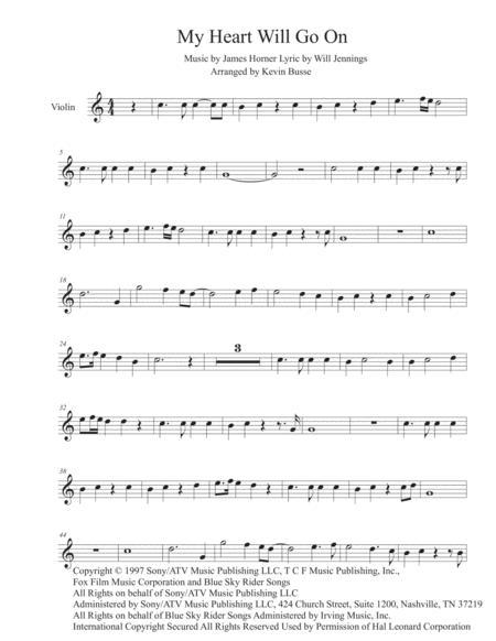 My Heart Will Go On (Easy key of C) - Violin