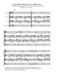 Can't Help Falling In Love arranged for string quartet with score and parts & mp3