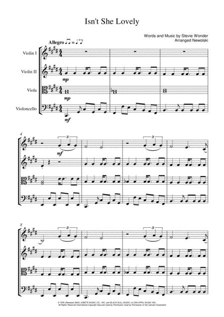Isn't She Lovely - String quartet Score and Parts