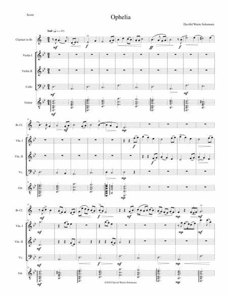 Ophelia for clarinet, 2 violins, cello and guitar