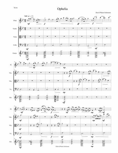 Ophelia for flute, string trio and guitar