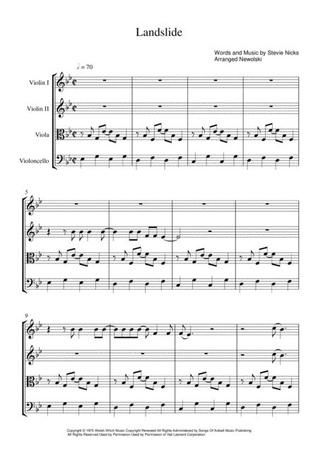 Landslide - String Quartet Score and Parts